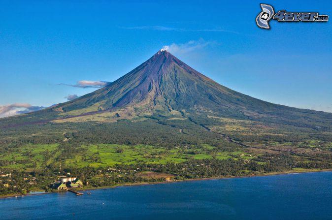 Mount Mayon, morze, wybrzeże, Filipiny