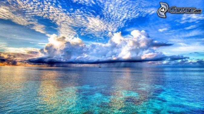 chmury, morze, deszcz, HDR