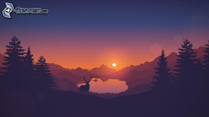 jeleń, zachód słońca nad górami, górskie jezioro, sylwetki drzew