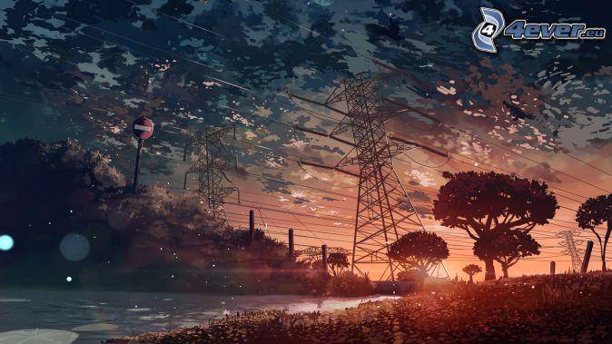 kable eletryczne, sylwetki drzew, chmury, znak drogowy