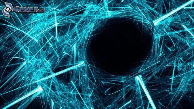 niebieskie linie, dziura