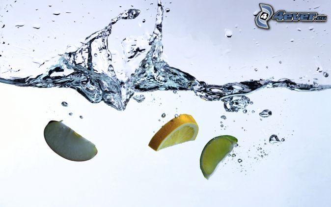 plusk, jabłko, pomarańcz, limetka, woda