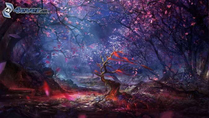 rysowany las, kwitnące drzewa, wiatr