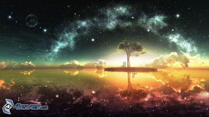 samotne drzewo, krzesło, jezioro, gwiaździste niebo, Droga Mleczna, księżyc, gwiazdy