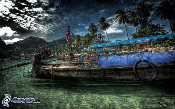 statek, morze, palmy, HDR