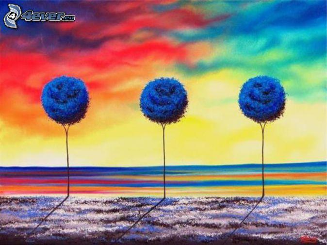 drzewa, łąki, kolorowe niebo