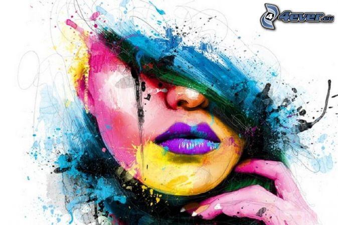 kobieta narysowana, kolorowe kleksy, fioletowe usta, niebieskie włosy