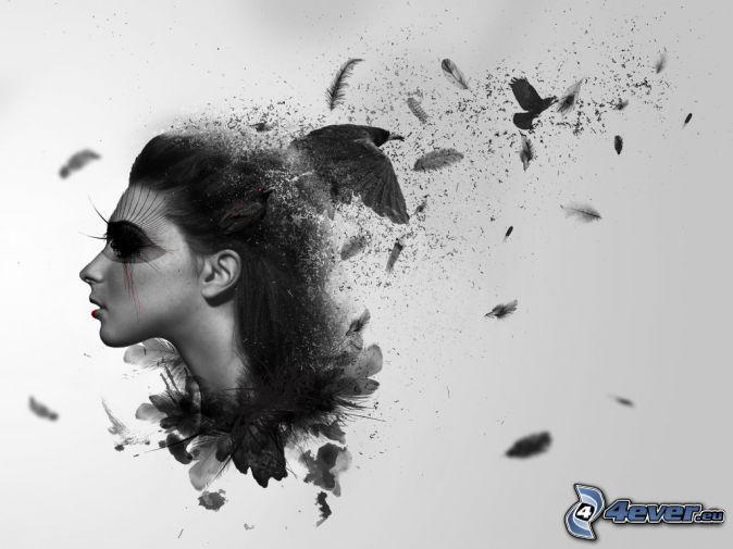 kobieta narysowana, ptaki, piórka, czarno-białe