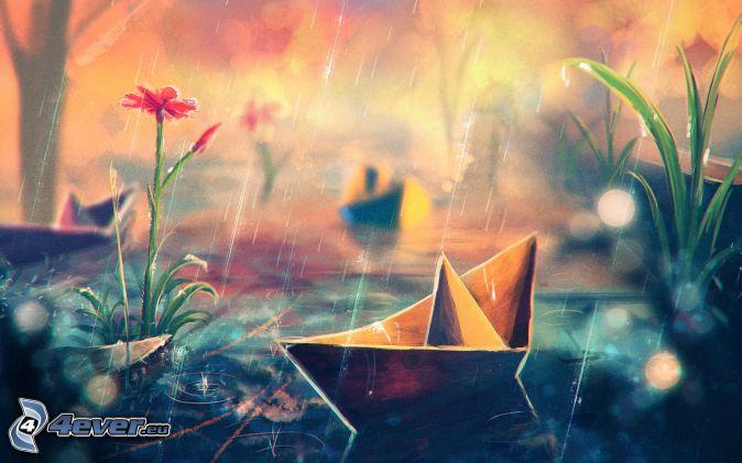 łódki z papieru, deszcz, kwiaty