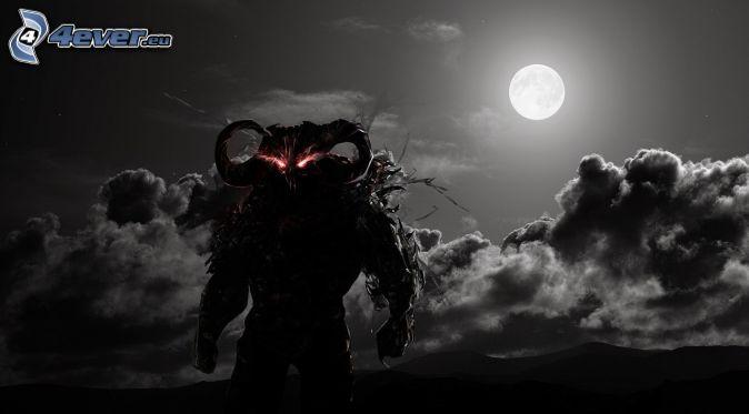 rysunkowy demon, pełnia, księżyc, noc, chmury