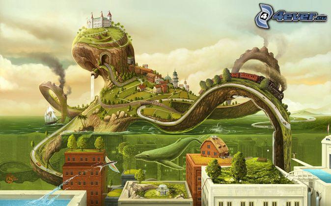 ośmiornica, rysunkowy krajobraz, zamek, pociąg, domy, woda
