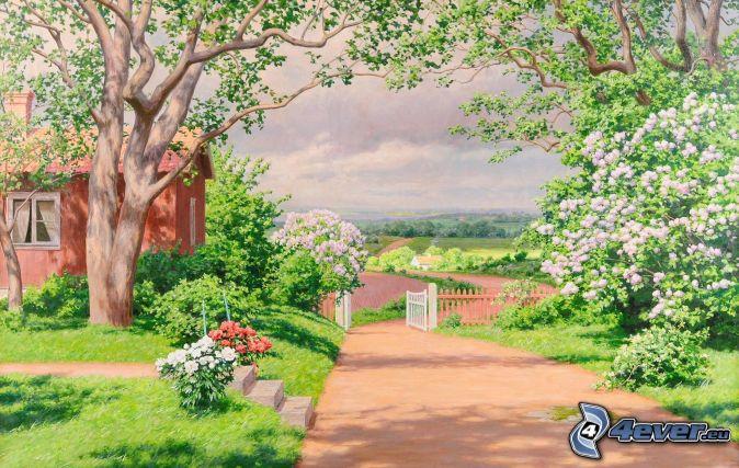 malowidło, chodnik, dom, kwitnące krzewy