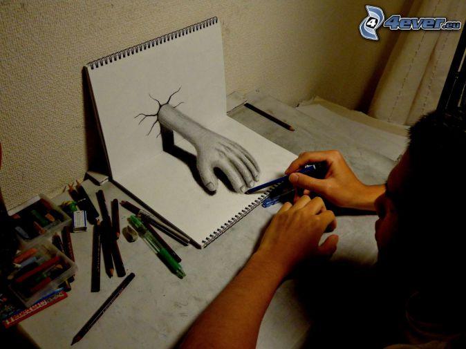 ręka, rysowanie, ołówki