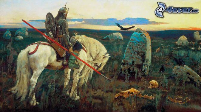 rycerz, biały koń, groby, szkielet, malowidło
