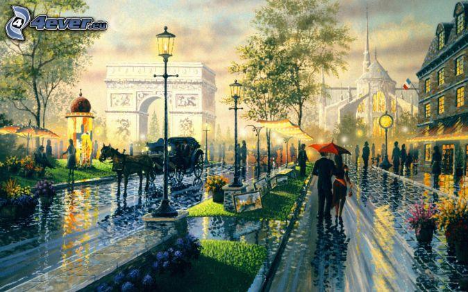 ulica, ludzie, kareta, Łuk Triumfalny, deszcz, malowidło