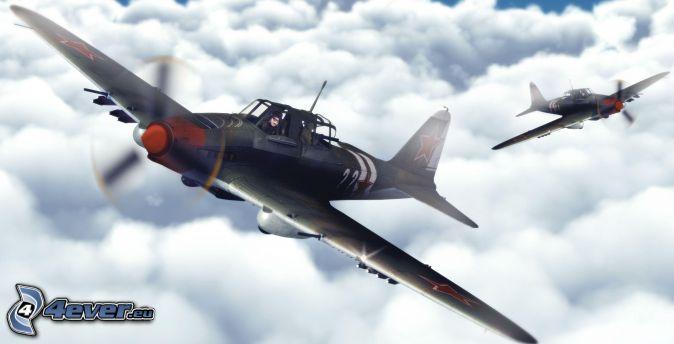 samoloty, ponad chmurami