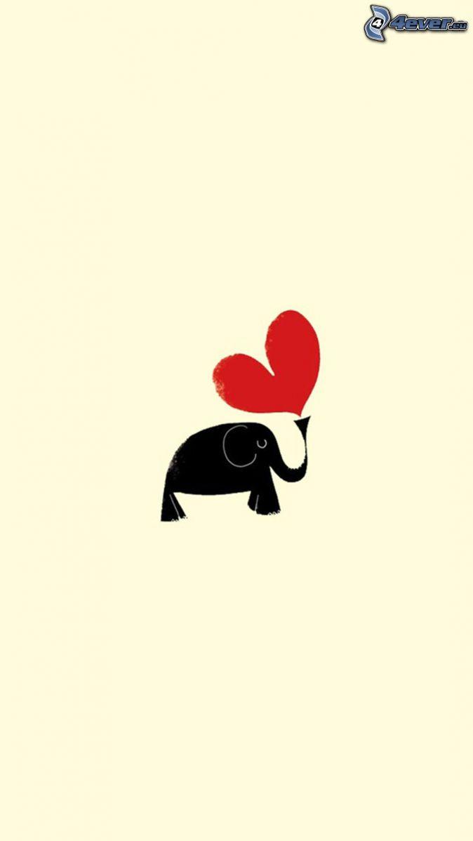 słoń, serduszko
