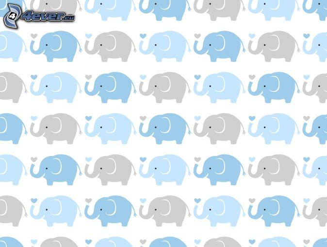 słonie rysunkowe