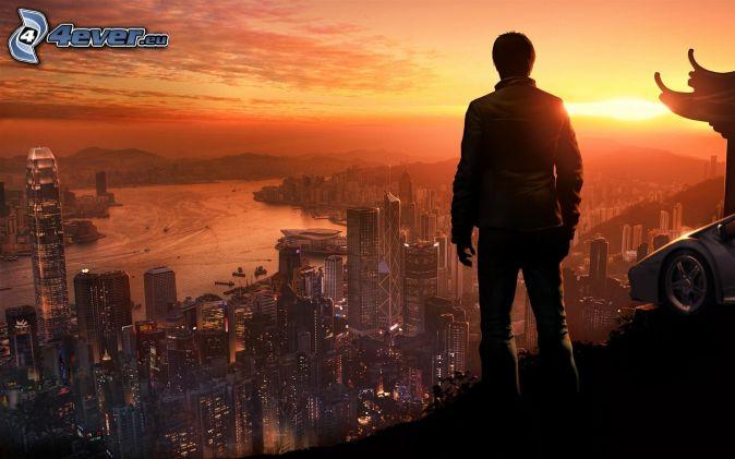 sylwetka mężczyzny, widok na miasto, Hong Kong, zachód słońca, wieczór