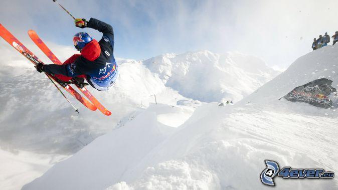 narciarstwo, narciarz, śnieżny krajobraz, zaśnieżone góry