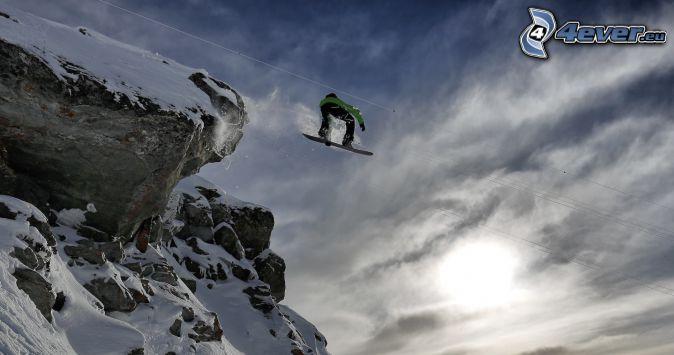 snowboarding, skok, skały, śnieg