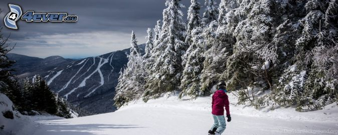 snowboarding, stok, zaśnieżony las, zaśnieżone pasmo górskie