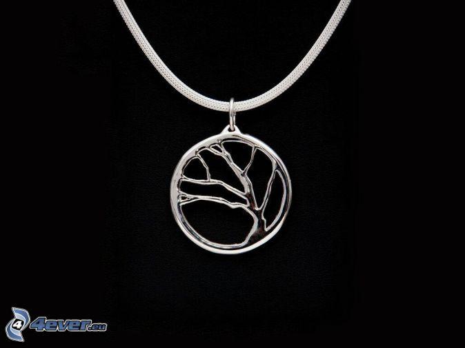 srebrny wisiorek, drzewo