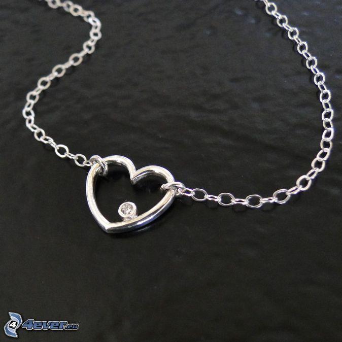 srebrny wisiorek, serduszko, łańcuszek