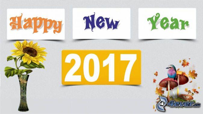 2017, Szczęśliwego Nowego Roku, happy new year, słonecznik, grzyby, ptaszek