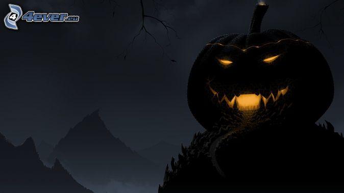 Halloween dynie, noc, wzgórza