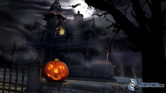 nawiedzony dom, Halloween dynie, noc, nietoperz, księżyc