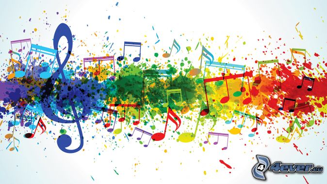 klucz wiolinowy, nuty, kolorowe kleksy