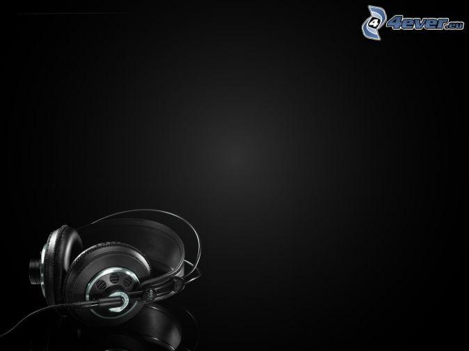 słuchawki, czarne tło