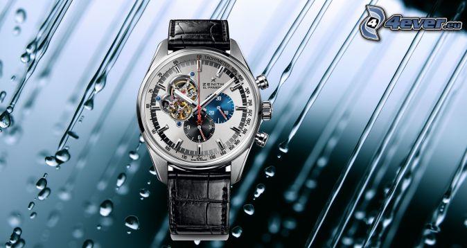 zegarki, krople wody