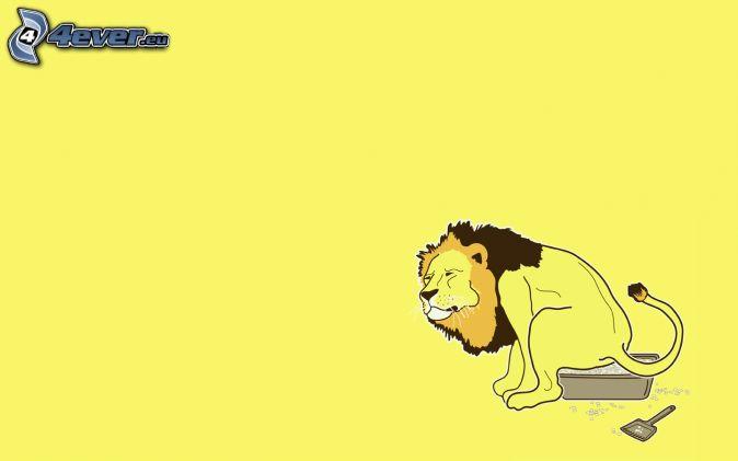 rysunkowy lew, toaleta