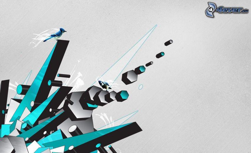 abstrakcyjne, niebieski ptak