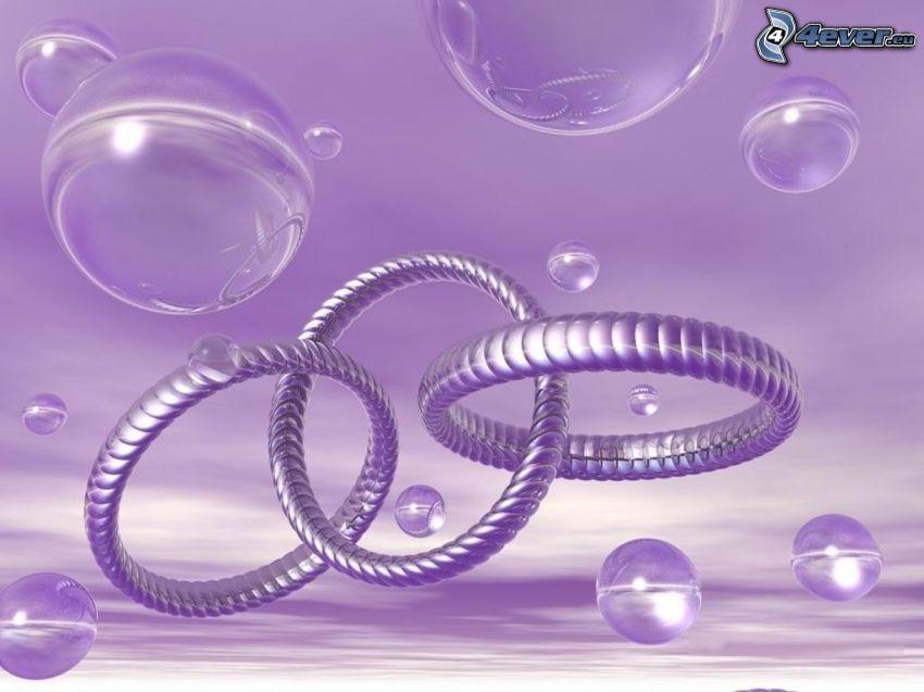 abstrakcyjne koła, bańki, fioletowe tło