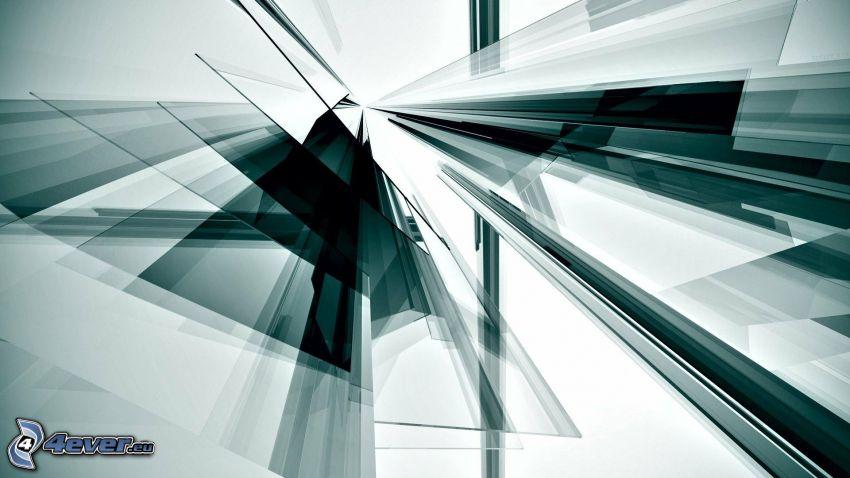 abstrakcyjne kształty, czarno-białe