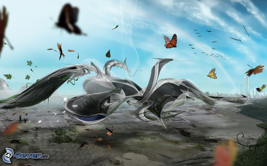 abstrakcyjne kształty, Motyle