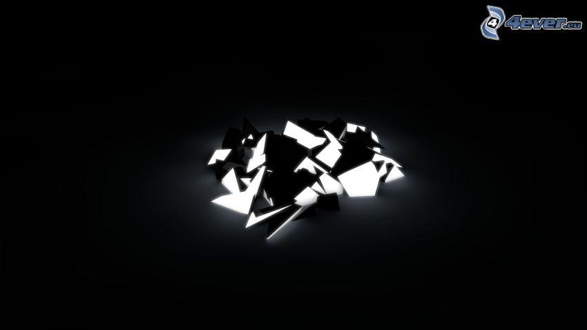 abstrakcyjne kształty, odłamki szkła