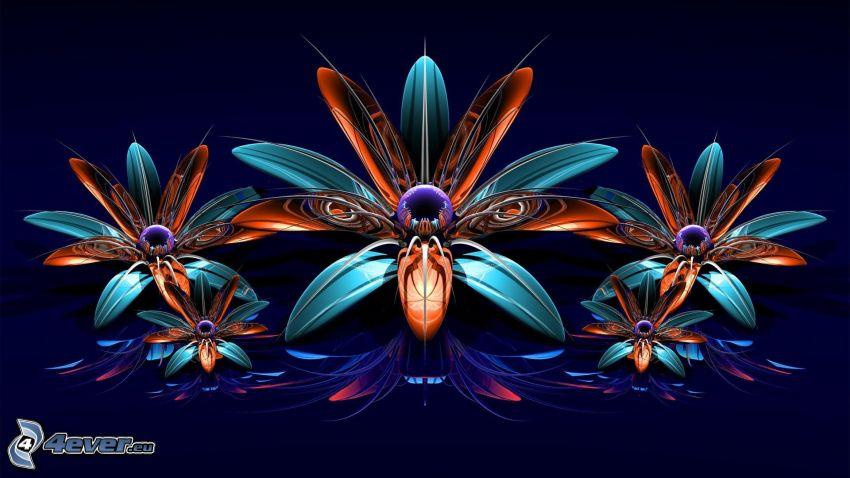 abstrakcyjne kwiaty, 3D