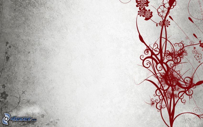 abstrakcyjne kwiaty, linie