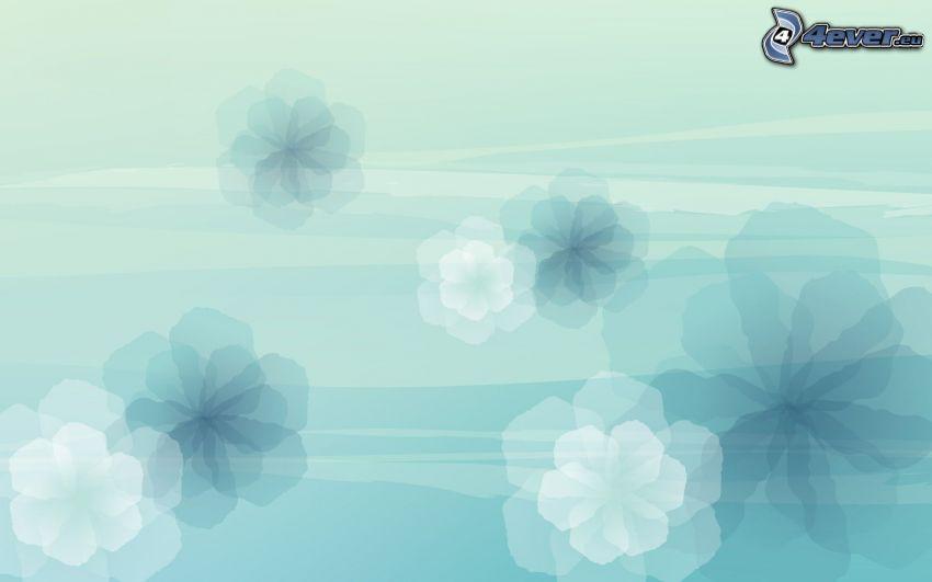 abstrakcyjne kwiaty, niebieskie tło