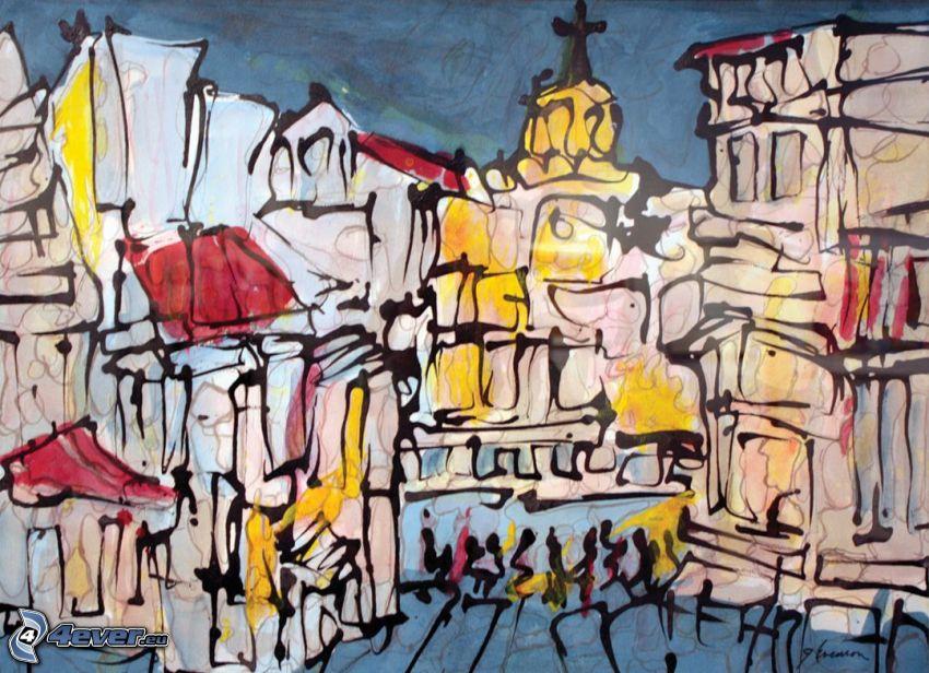 abstrakcyjne miasto, kościół, rysunkowe miasto