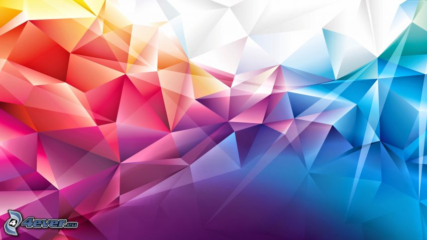 abstrakcyjne trójkąty, kolory