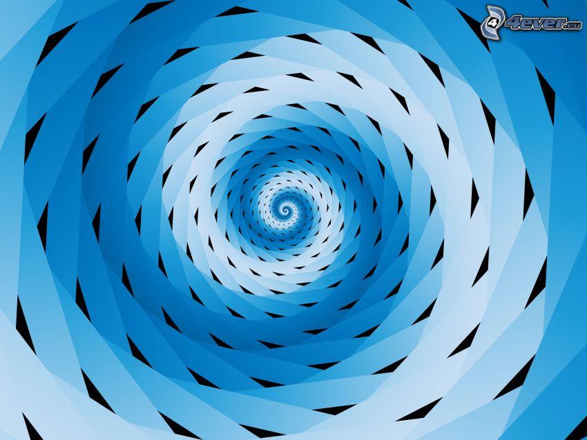 abstrakcyjny tunel, trójkąty, niebieskie tło