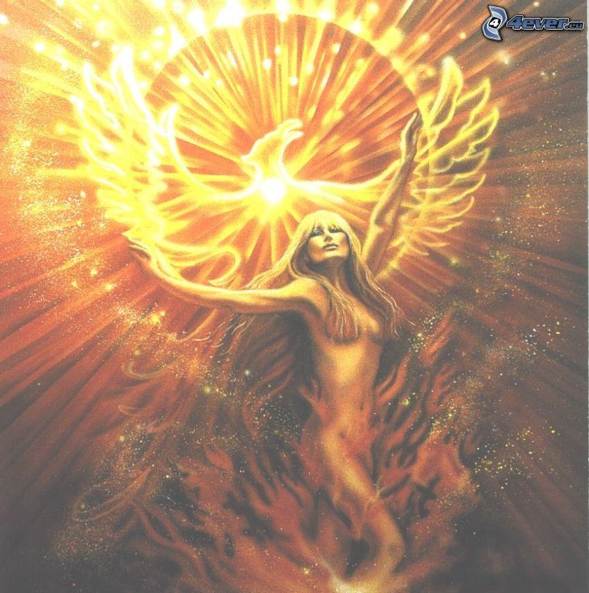 anielski diabeł, kobieta z ogniem, orzeł