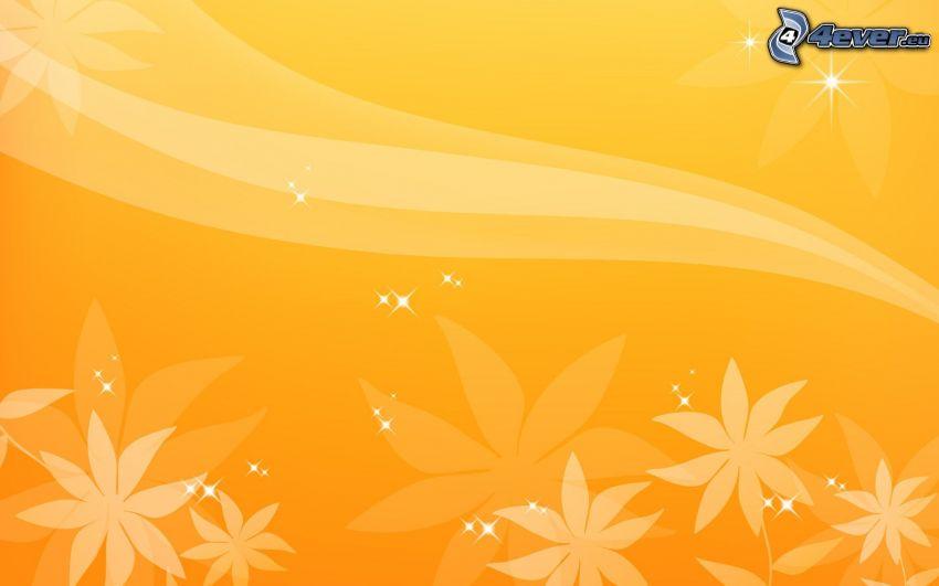 białe kwiaty, biała linia, żółte tło