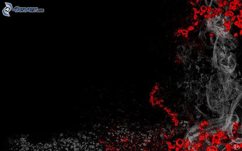 białe linie, krew, dym, czarne tło