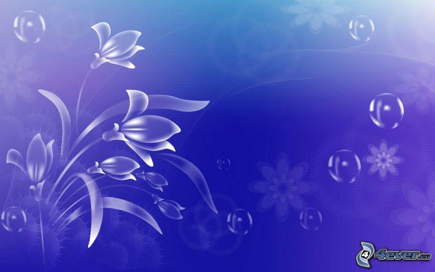 cyfrowe kwiaty, bańki, niebieskie tło